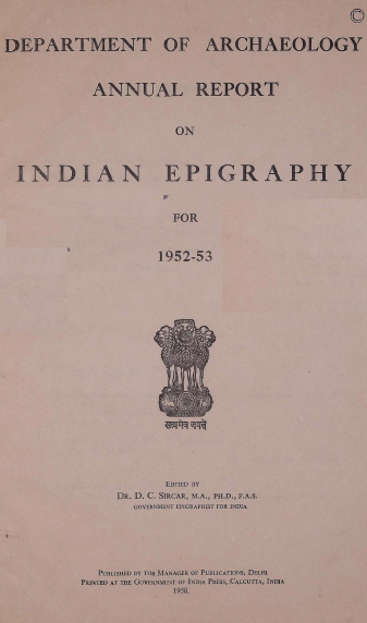 Department of Archaeology Annual Report on Indian Epigraphy for 1952-53