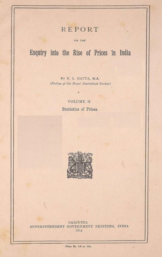 Report on the enquiry into the rise of prices in India