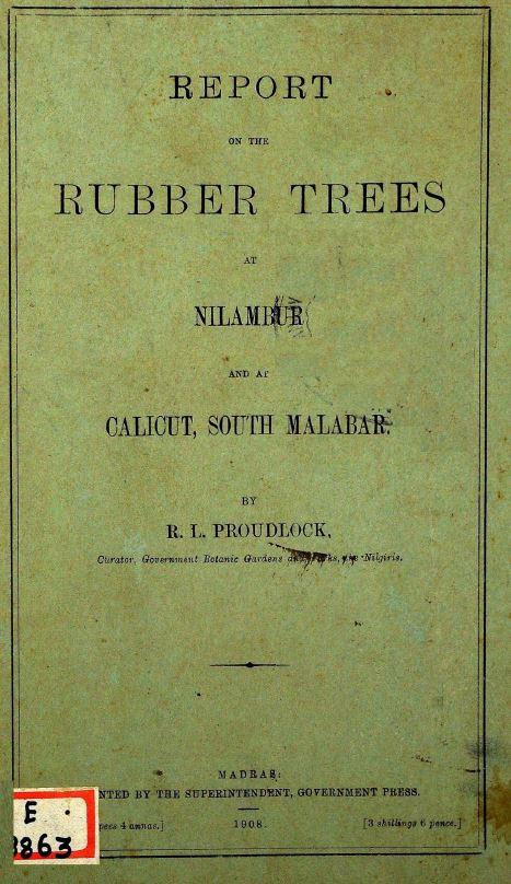 Report on the rubber trees at Nilambur and at Calicut, South Malabar